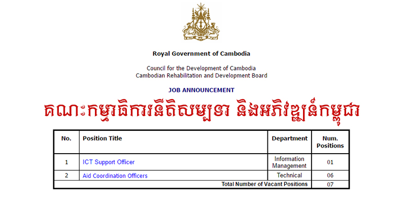 Job Announcement with Cambodia Rehabilitation and