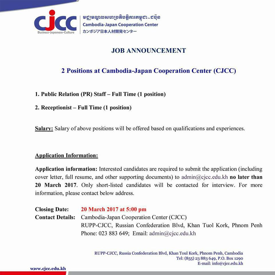 CJCC is looking for Public Relation and Receptionist - ASEAN ...