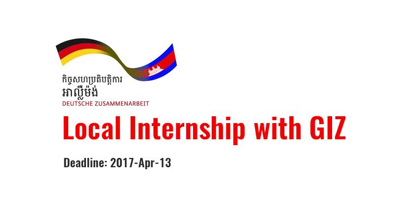 Local Internship with GIZ Cambodia - ASEAN Scholarship