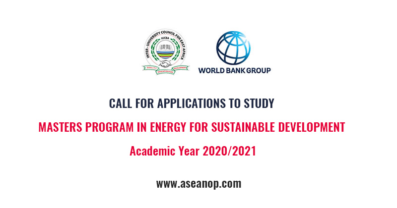 CALL FOR APPLICATIONS TO STUDY MASTERS PROGRAM IN ENERGY FOR SUSTAINABLE DEVELOPMENT