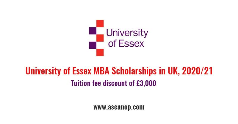 University of Essex MBA Scholarships in UK, 2020/21