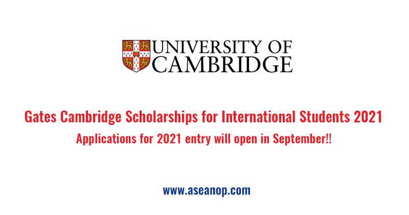 Gates Cambridge Scholarships for International Students 2021