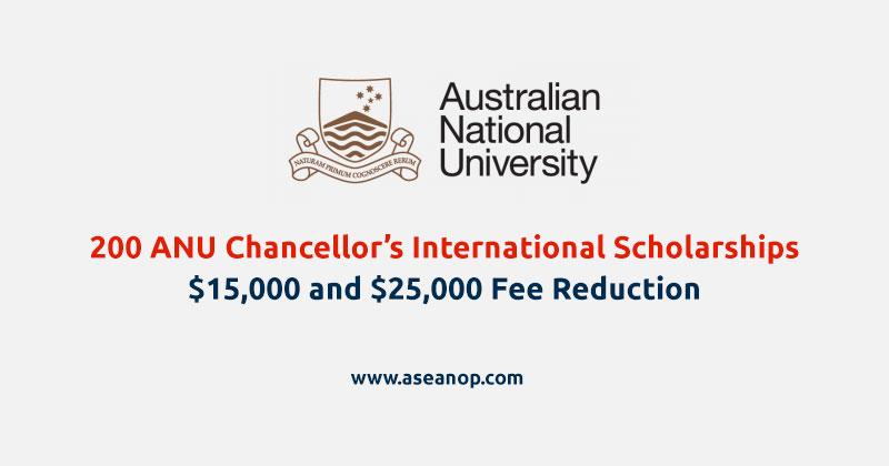 ANU Chancellor's International Scholarship (200 Scholarships)