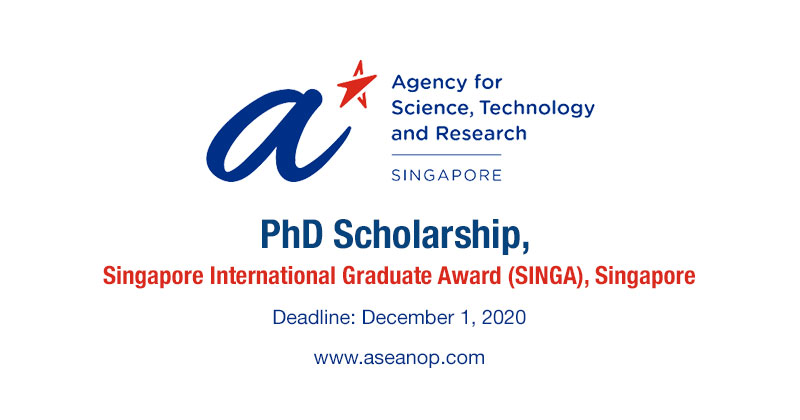 PhD SINGA Award scholarships in Singapore