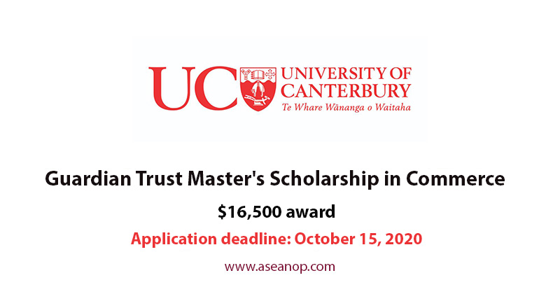 Guardian Trust Master's Scholarships of the University of Canterbury