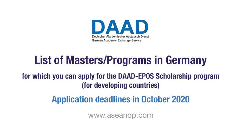 List of Masters - DAAD-EPOS scholarship program for developing countries 2021-2022 October