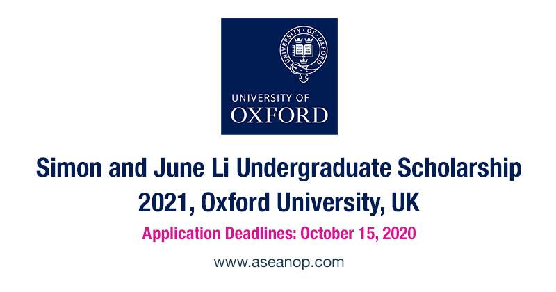 Simon and June Li Undergraduate Scholarship, Oxford University