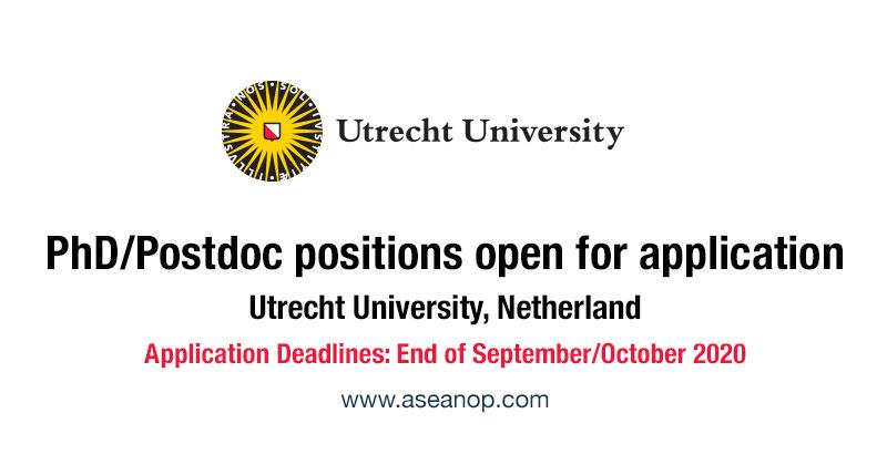 Utrecht University, Netherlands, PhD, Postdoctoral position open for applications