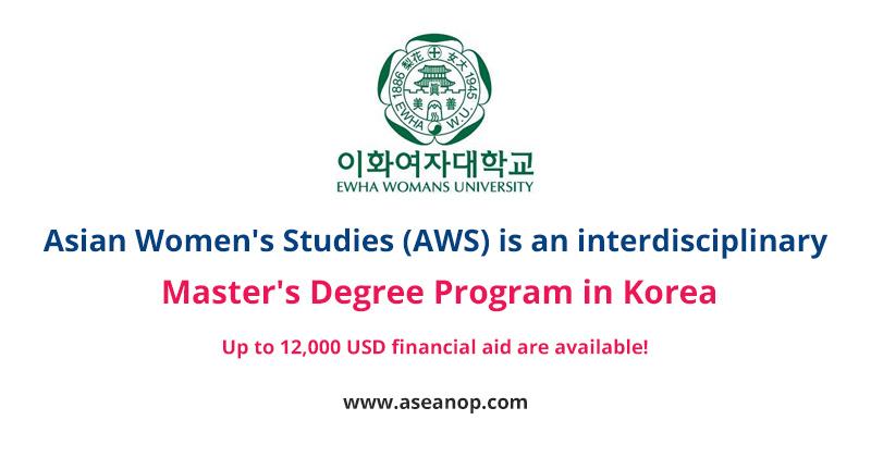 Asian Women's Studies (AWS) Master degree Scholarship in South Korea