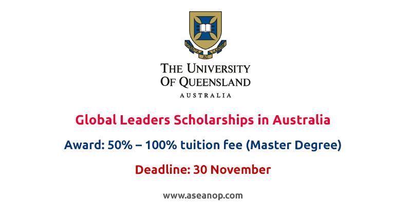 University of Queensland Europe Global Leaders Scholarships in Australia