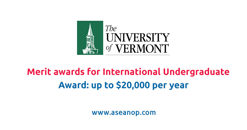 Merit awards for International Undergraduate Students at the University of Vermont in USA, 2021