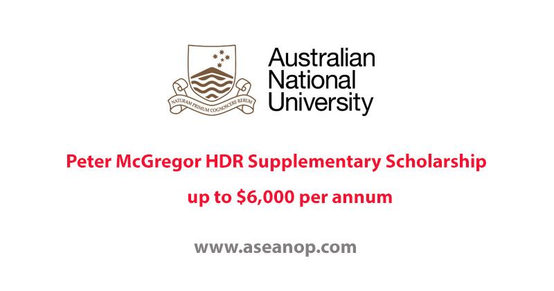 Australian National University Peter McGregor HDR Supplementary Scholarship