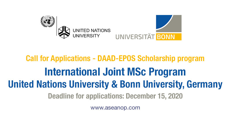 International Joint Master United Nations University and Bonn University Germany, DAAD-EPOS Scholarships 2021