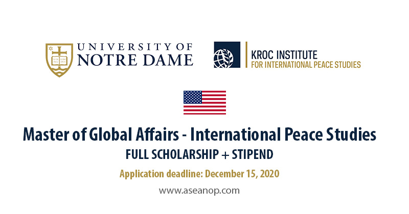 Master of Global Affairs University of Notre Dame, USA