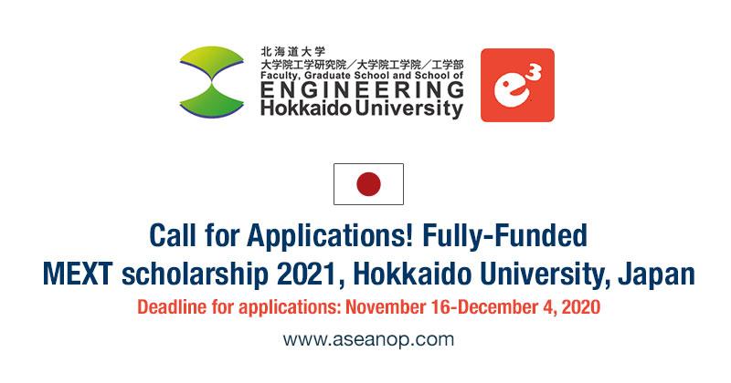 Hokkaido University Graduate Program, MEXT Scholarships 2021