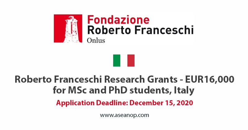 Roberto Franceschi Master and PhD research grant